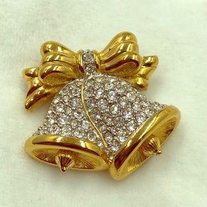 Swarovski crystal Christmas Bell Brooch signee